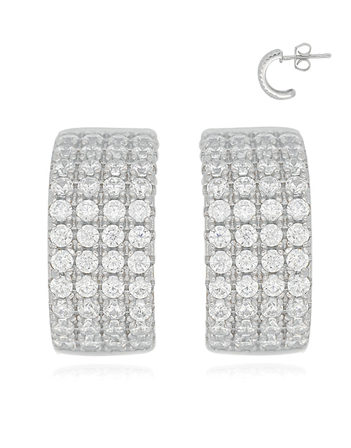 christmas: Silver Cubic Hoop Earrings!