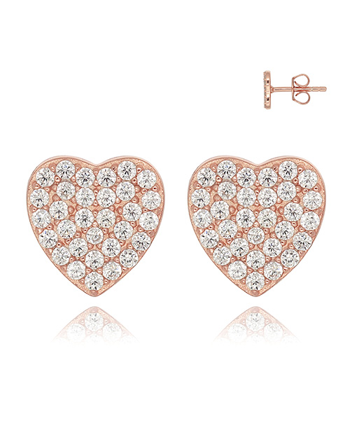 mothers-day: Silver Cubic Pave RG Heart Studs!