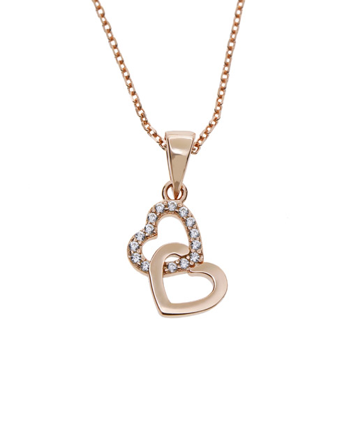 necklaces: Silver Double Heart RG Cubic Necklace!