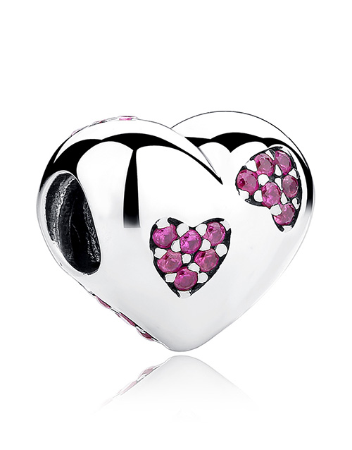 pandora: Silver 925 Heart with Pink Cubic Pave Heart Charm!