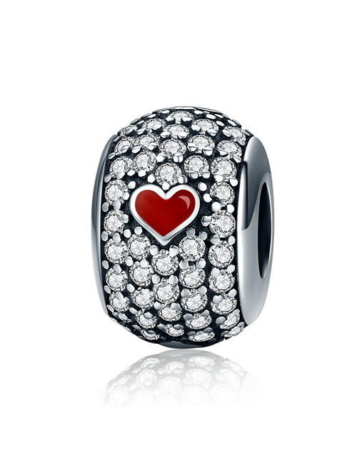 pandora: Silver 925 Round Clear Pave and Red Enamel Heart !