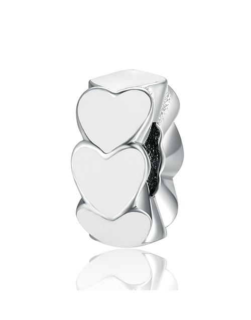 pandora: Silver 925 Hearts White Enamel Spacer Charm!