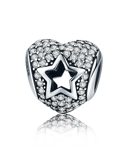 sale: Silver 925 Heart Cubic Pave with Cut Out Star!