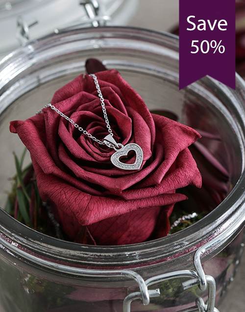 mothers-day: Silver Heart Set with Cubic Zirconia!