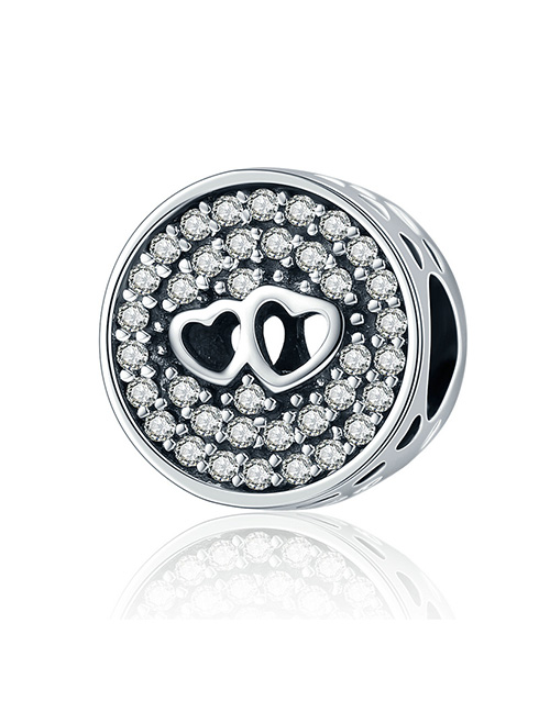 pandora: Silver Round Pave Double Heart Charm!