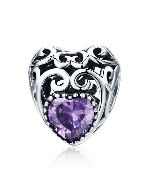 pandora: Silver Filigree Heart February Birthstone Charm!