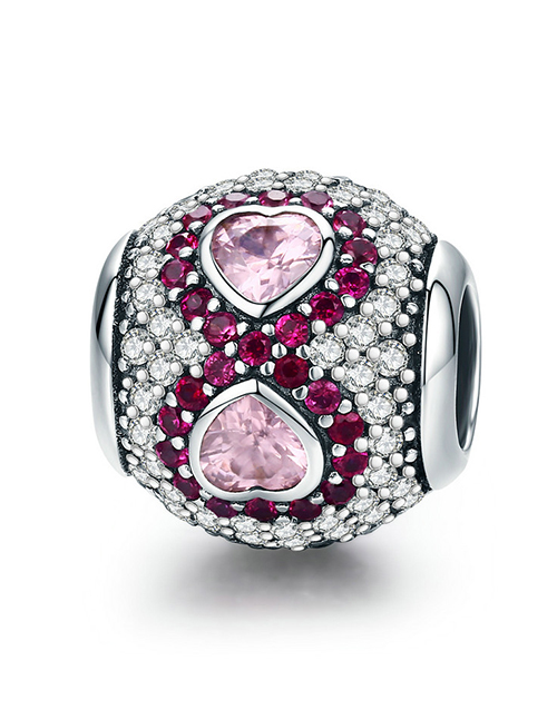 pandora: Silver Pink Cubic Hearts Round Charm!