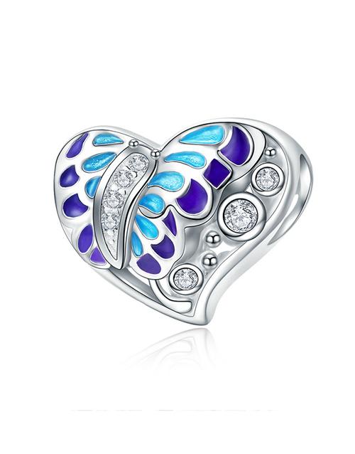 pandora: Silver Heart Filigree Butterfly Enamel Charm!