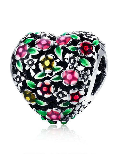 pandora: Silver Colourful Flower Heart Enamel Charm!