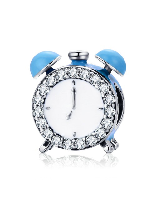 pandora: Silver Clock Light Blue Enamel and Cubic Charm!