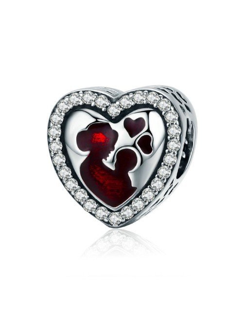pandora: Silver Heart Red Enamel Mother and Child Charm!