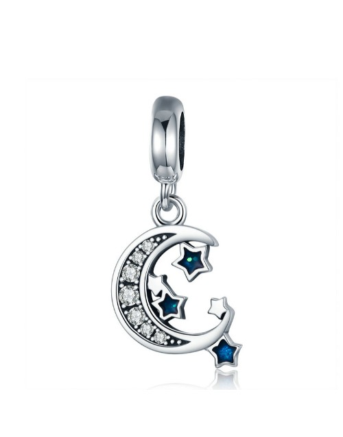 pandora: Silver Dangle Moon and Blue Cubic Star Charm!
