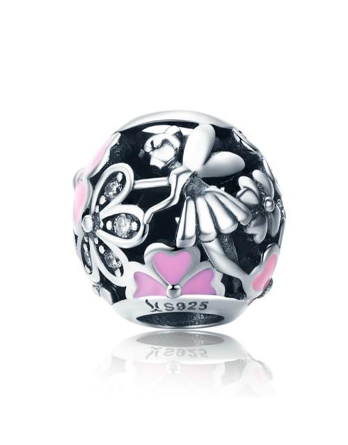pandora: Silver Pink Enamel Flower Round Bead Charm!