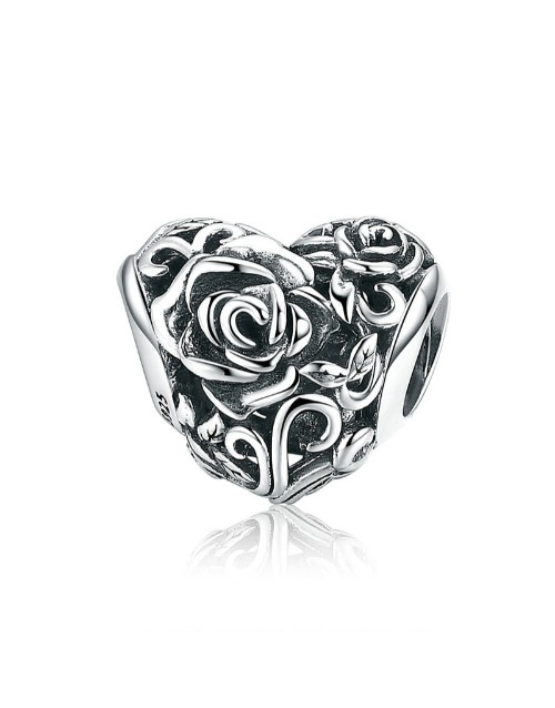 pandora: Silver Heart Rose Design Charm!
