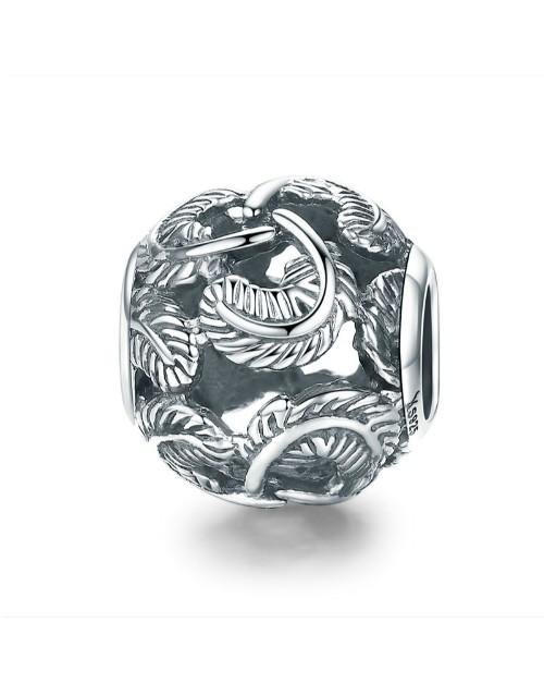 pandora: Silver Round Feather Design Charm!