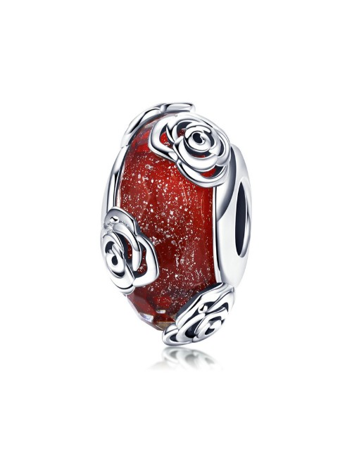 pandora: Silver Red Murano and Rose Charm!