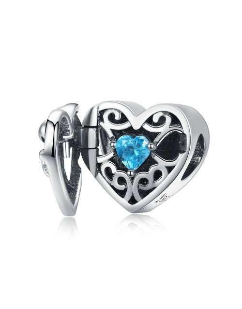 pandora: Silver Filigree Blue Cubic Heart Surprise Charm!