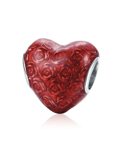 pandora: Silver Rose Red Enamel Heart Charm!