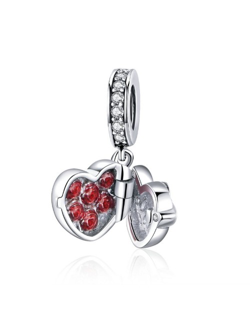 pandora: Silver Heart And Red Cubic Surprise Charm!