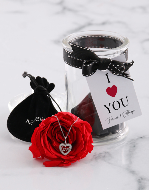valentines-day: Silver Necklace And Iluba Rose Gift Set!
