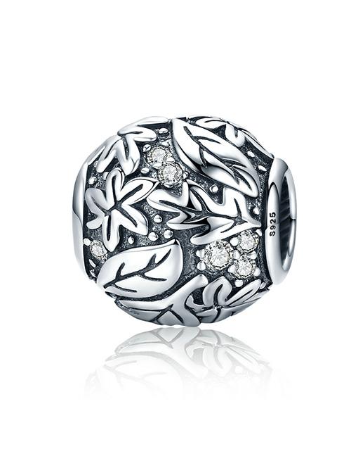 pandora: 925 Silver Round Forest Floral Charm!