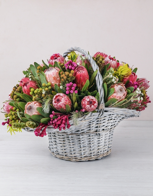 mothers-day: Mixed Proteas in a Large Basket!
