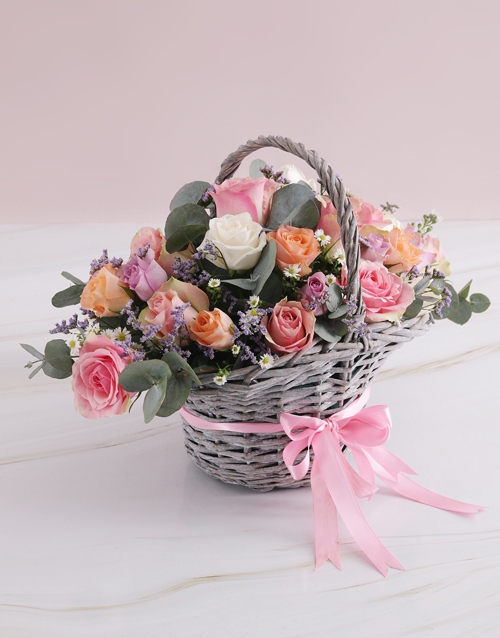colour: Mothers Day Radiant Roses Willow Basket!