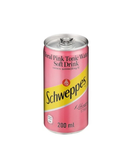 mixers: SCHWEPPES FLORAL PINK TONIC CAN 200ML!