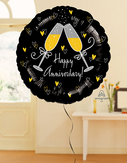 balloon: Happy Anniversary Black and Gold Balloon!
