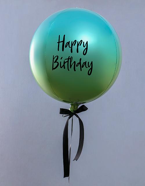 balloon: Metallic Blue And Green Ombre Balloon Gift!