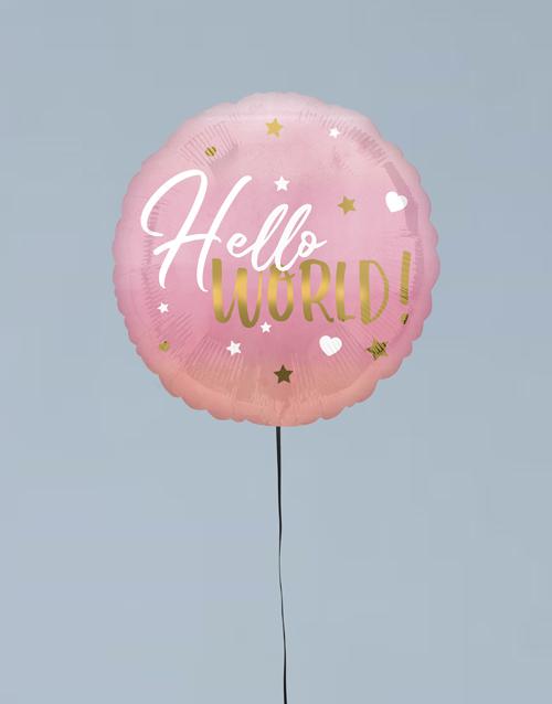 balloon: Hello World Pink Balloon Gift!