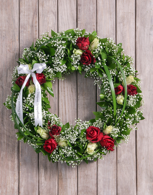 Condolences red and white rose funeral wreath online condolences red and white rose funeral wreath mightylinksfo