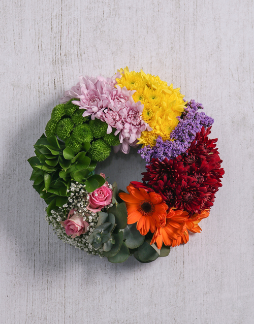 sympathy: Mix Flowers Sympathy Wreath!