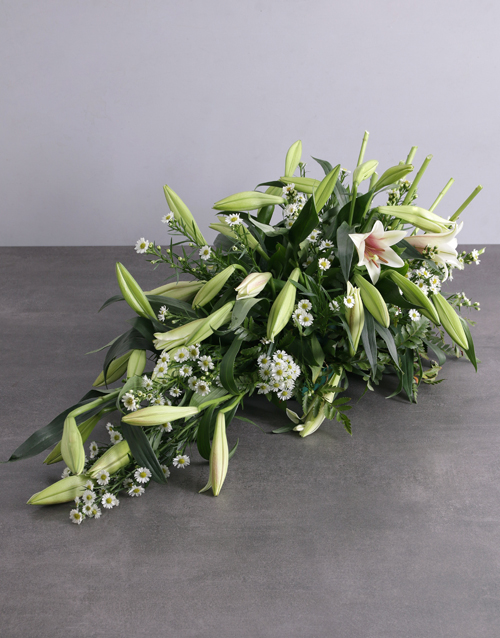 sympathy: White Lily Funeral Coffin Display!