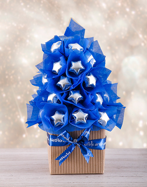 edible-chocolate-arrangements: Blue and Silver Edible Tree!