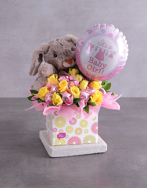 edible-chocolate-arrangements: Rabbit Choc Stars and Baby Girl Balloon Box!