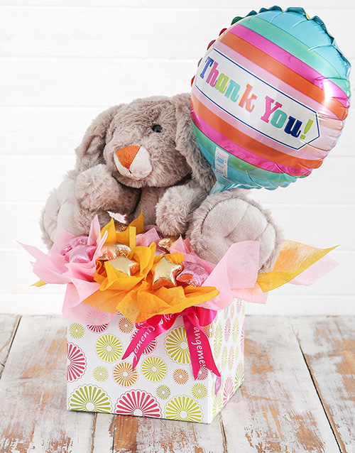 flowers: Rabbit Choc Stars and Thank You Balloon Box!