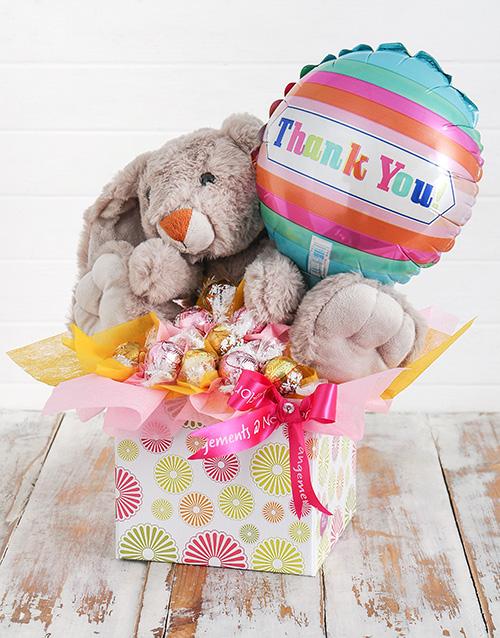 teddy-bears: Rabbit Lindt and Thank You Balloon Box!