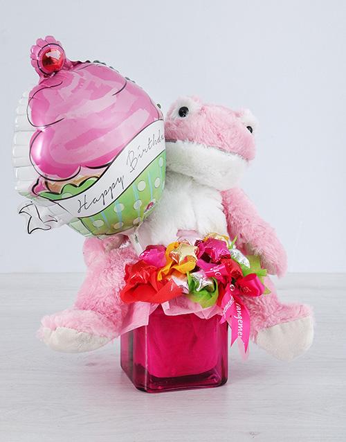 balloon: Pink Froggy Choc Star and Cupcake Balloon Vase!