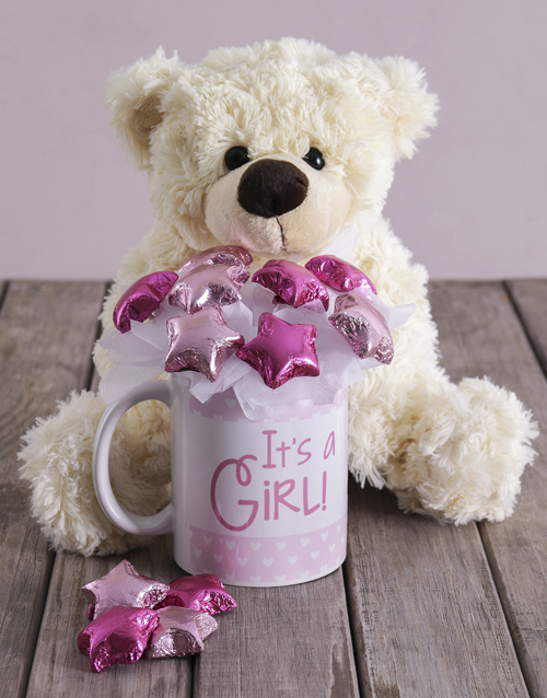edible-chocolate-arrangements: Its a Girl White Bear Arrangement!