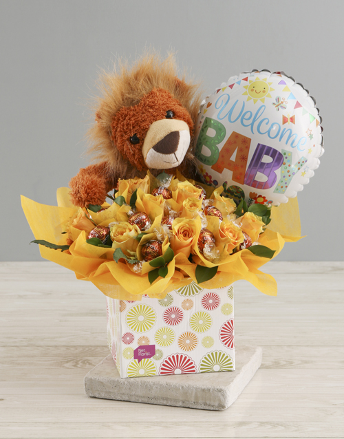 baby: Welcome Baby Edible Yellow Arrangement !