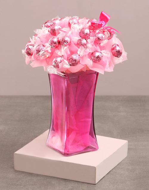 birthday: Pink Lindt Edible Arrangement!