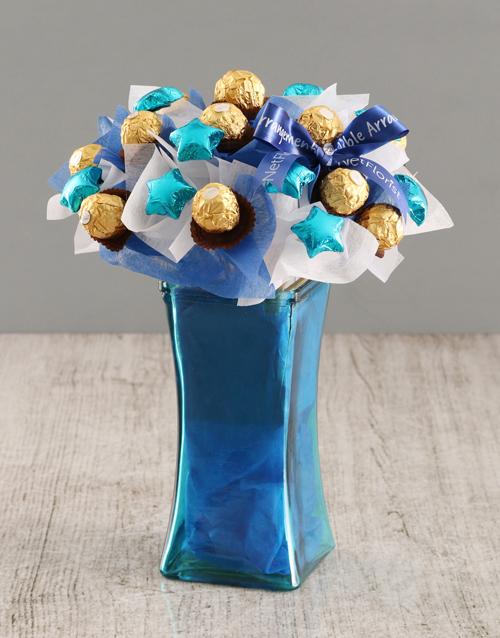 birthday: Blue Ferrero Edible Arrangement!