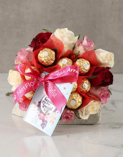 edible-chocolate-arrangements: Mixed Roses Special to Me Edible Arrangement!