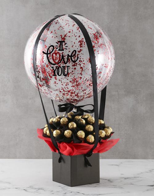 edible-arrangments: Chocolate Love Balloon Hamper!