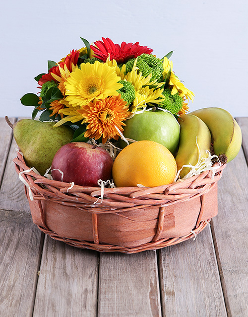 birthday: Quaint Fruit and Flower Basket!