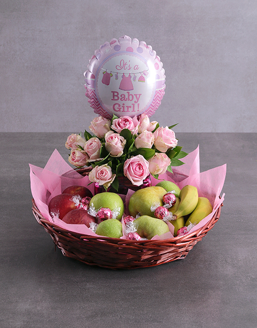 gourmet: Baby Girl Fruit Fantasy Basket!