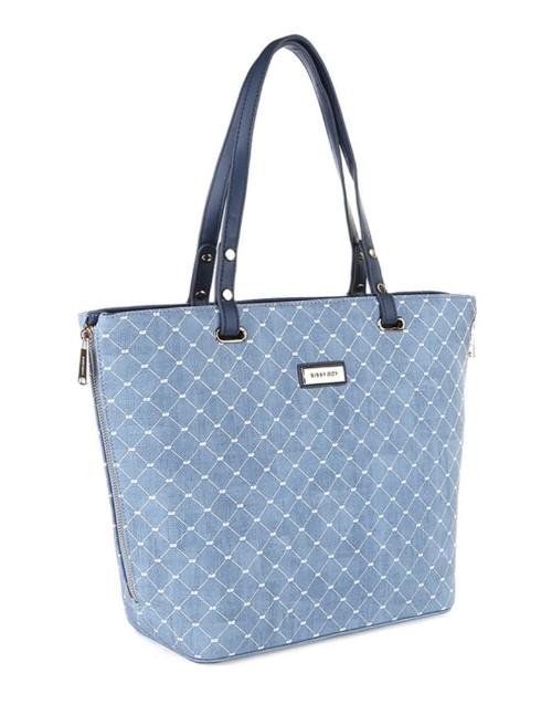 sissyboy: Sissy Boy Printed Denim Tote Handbag Blue!