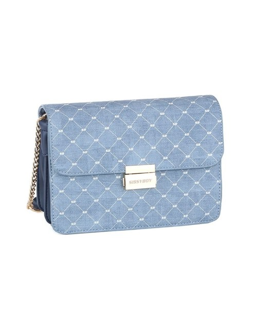 sissyboy: Sissy Boy Printed Denim Sling Handbag Blue!