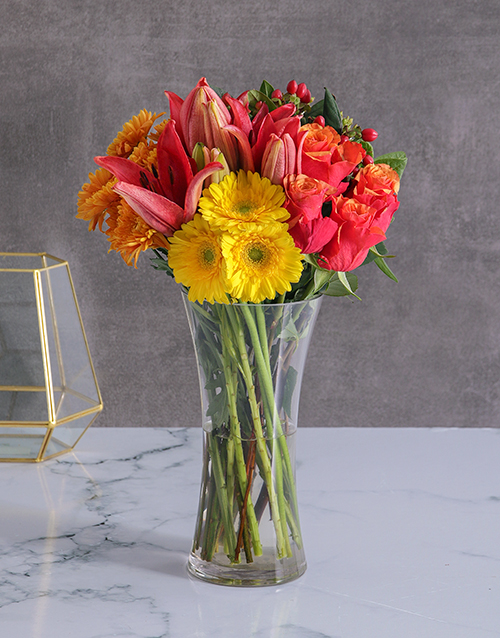 Roses Lilies And Gerbera Vase Online